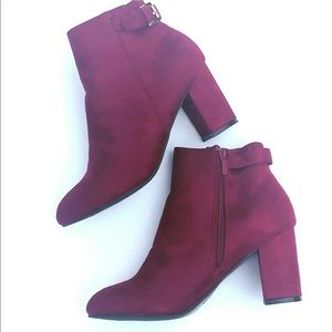 Like New Suede Like Material Burgundy Ankle Boots